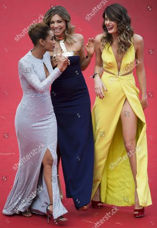 (l-r) Brazilian Actress Tais Araujo Brazilian Actress Grazi Massafera and Brazilian Model Isabeli Fontana Arrive For the Screening of 'Saint Laurent' During the 67th Annual Cannes Film Festival in Cannes France 17 May 2014 the Movie is Presented in the Official Competition of the Festival Which Runs From 14 to 25 May France Cannes