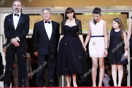 Italian Actress Monica Bellucci (c) Belgian Actor Sam Louwyck (l) Actress Maria Alexandra Lungu (2-r) Actress Agnese Graziani (r) and Crew Leave the Festival Palace After the Screening of 'Le Meraviglie' (the Wonders) During the 67th Annual Cannes Film Festival in Cannes France 18 May 2014 the Movie was Presented in the Official Competition of the Festival Which Runs From 14 to 25 May France Cannes