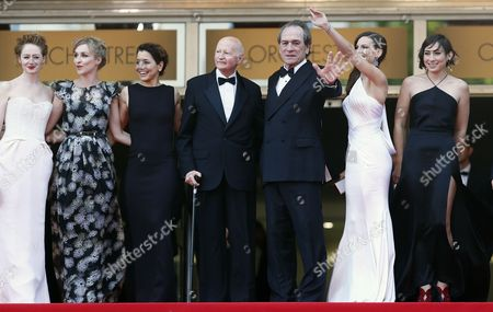 Australian Actress Miranda Otto (l) Danish Actress Sonja Richter (2-l) Festival President Gilles Jacob (c) Us Actor and Director Tommy Lee Jones (3-r) and Wife Dawn Laurel-jones (3-l) Us Actress Hilary Swank (2-r) and Guest Arrive For the Screening of 'The Homesman' During the 67th Annual Cannes Film Festival in Cannes France 18 May 2014 the Movie is Presented in the Official Competition of the Festival Which Runs From 14 to 25 May France Cannes