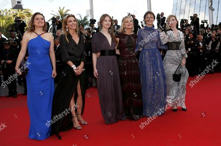 (l-r) French Actresses Carole Franck Claire Keim Lou De Laage Melanie Laurent Josephine Jappy and Isabelle Carre Arrive For the Screening of 'The Homesman' During the 67th Annual Cannes Film Festival in Cannes France 18 May 2014 the Movie is Presented in the Official Competition of the Festival Which Runs From 14 to 25 May France Cannes