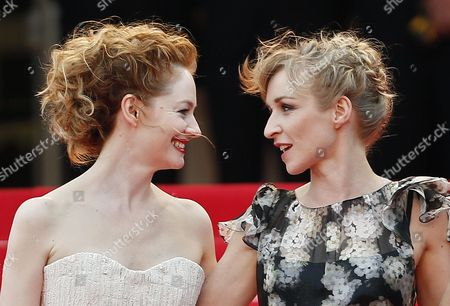 Stock Picture of Danish Actress Sonja Richter (r) and Australian Actress Miranda Otto (l) Arrive For the Screening of 'The Homesman' During the 67th Annual Cannes Film Festival in Cannes France 18 May 2014 the Movie is Presented in the Official Competition of the Festival Which Runs From 14 to 25 May France Cannes