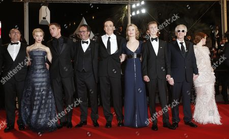 (l-r) Canadian Actress Sarah Gadon British Actor Robert Pattinson Us Actor John Cusack Australian Actress Mia Wasikowska Canadian Actor Evan Bird Canadian Director David Cronenberg Us Actress Julianne Moore and Guests Arrive For the Screening of 'Maps to the Stars' During the 67th Annual Cannes Film Festival in Cannes France 19 May 2014 the Movie is Presented in the Official Competition of the Festival Which Runs From 14 to 25 May France Cannes