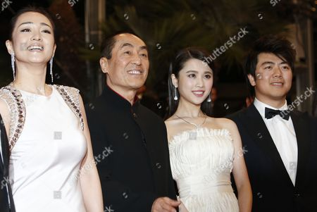(l-r) Chinese Actress Gong Li Chinese Director Zhang Yimou Chinese Actress Zhang Huiwen and Chinese Pianist Lang Lang Arrive For the Screening of 'Gu Lai' (coming Home) During the 67th Annual Cannes Film Festival in Cannes France 20 May 2014 the Movie is Presented out of Competition at the Festival Which Runs From 14 to 25 May France Cannes