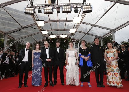 (l-r) Scottish Screenwriter Paul Laverty Irish Actress Simone Kirby British Director Ken Loach Irish Actor Barry Ward Irish Actress Aisling Franciosi Producer Rebecca O'brien Cinematographer Robbie Ryan and Guest Arrive For the Screening of 'Jimmy's Hall' During the 67th Annual Cannes Film Festival in Cannes France 22 May 2014 the Movie is Presented in the Official Competition of the Festival Which Runs From 14 to 25 May France Cannes