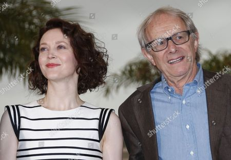 Irish Actress Simone Kirby (l) and British Director Ken Loach (r) Pose During the Photocall For 'Jimmy's Hall' at the 67th Annual Cannes Film Festival in Cannes France 22 May 2014 the Movie is Presented in the Official Competition of the Festival Which Runs From 14 to 25 May France Cannes