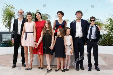 Stock Photo of (l-r) Belgian Actor Sam Louwyck Actress Maria Alexandra Lungu Italian Actress Monica Bellucci Actress Agnese Graziani Italian Director Alice Rohrwacher Actress Eva Morrow Producer Carlo Cresto-dina and Actor Luis Huilca Pose During the Photocall For 'Le Meraviglie' (the Wonders) at the 67th Annual Cannes Film Festival in Cannes France 18 May 2014 the Movie is Presented in the Official Competition of the Festival Which Runs From 14 to 25 May France Cannes