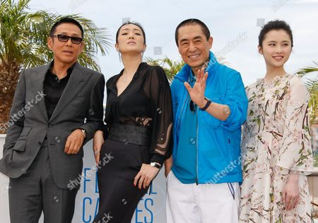 Chinese Actor Chen Daoming (l) Chinese Actress Zhang Huiwen (2-l) Chinese Actress Gong Li (r) and Chinese Director Zhang Yimou (2-r) Pose During the Photocall For 'Gu Lai' (coming Home) at the 67th Annual Cannes Film Festival in Cannes France 20 May 2014 the Movie is Presented out of Competition at the Festival Which Runs From 14 to 25 May France Cannes