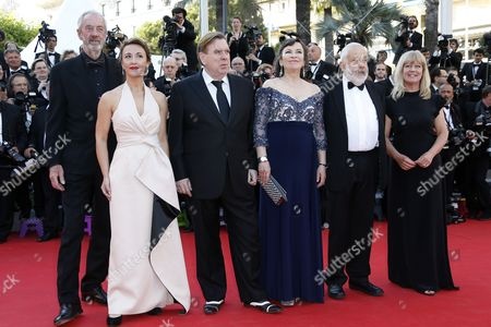 (l-r) British Cinematographer Dick Pope British Actress Dorothy Atkinson British Actor Timothy Spall British Actress Marion Bailey British Director Mike Leigh and Producer Georgina Lowe Arrive For the Screening of 'Mr Turner' During the 67th Annual Cannes Film Festival in Cannes France 15 May 2014 the Movie is Presented in the Official Competition of the Festival Which Runs From 14 to 25 May France Cannes