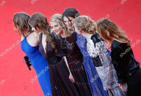 (l-r) French Actresses Carole Franck Lou De Laage Melanie Laurent Josephine Jappy Isabelle Carre and Claire Keim Arrive For the Screening of 'The Homesman' During the 67th Annual Cannes Film Festival in Cannes France 18 May 2014 the Movie is Presented in the Official Competition of the Festival Which Runs From 14 to 25 May France Cannes