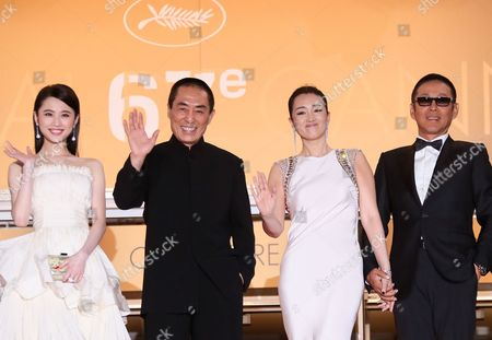 (l-r) Chinese Actress Zhang Huiwen Chinese Director Zhang Yimou Chinese Actress Gong Li and Chinese Actor Chen Daoming Arrive For the Screening of 'Gu Lai' (coming Home) During the 67th Annual Cannes Film Festival in Cannes France 20 May 2014 the Movie is Presented out of Competition at the Festival Which Runs From 14 to 25 May France Cannes