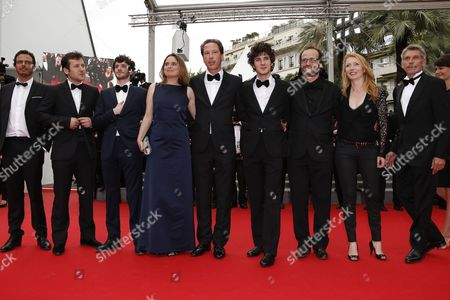 Cast of the Movie 'Hippocrate' Actors Felix Moati (3-l) Carole Franck (4-l) Reda Kateb (c) Vincent Lacoste (4-r) Director Thomas Lilti (3-r) Jacques Gamblin (r) and Guests Arrive For the Screening of 'Jimmy's Hall' During the 67th Annual Cannes Film Festival in Cannes France 22 May 2014 the Movie is Presented in the Official Competition of the Festival Which Runs From 14 to 25 May France Cannes