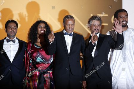 (l-r) Tunisian Actor Hichem Yacoubi Actress Toulou Kiki Mauritanian-born Director Abderrahmane Sissako Tunisian Actor Abel Jafri and Actor Ibrahim Ahmed Aka Pino Arrive For the Screening of 'Timbuktu' During the 67th Annual Cannes Film Festival in Cannes France 15 May 2014 the Movie is Presented in the Official Competition of the Festival Which Runs From 14 to 25 May France Cannes