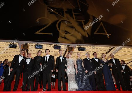 British Actor Robert Pattinson (3-l) Us Actor John Cusack (4-l) Canadian Actor Evan Bird (5-l) Us Actress Julianne Moore (6-l) Australian Actress Mia Wasikowska (7-l) Canadian Director David Cronenberg (8-l) Canadian Actress Sarah Gadon (10-l) and Guests Leave the Festival Palace After the Screening of 'Maps to the Stars' During the 67th Annual Cannes Film Festival in Cannes France 19 May 2014 the Movie was Presented in the Official Competition of the Festival Which Runs From 14 to 25 May France Cannes