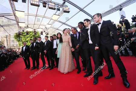 Actress Nailia Harzoune (7-r) French Director Tony Gatlif (4-r) French Actress Celine Sallette (6-r) and Guests Arrive For the Screening of 'Deux Jours Une Nuit' (two Days One Night) During the 67th Annual Cannes Film Festival in Cannes France 20 May 2014 the Movie is Presented in the Official Competition of the Festival Which Runs From 14 to 25 May France Cannes