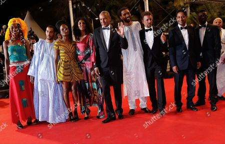 Mauritanian-born Director Abderrahmane Sissako (5-l) Actress Toulou Kiki (4-l) Actor Ibrahim Ahmed Aka Pino (5-r) Tunisian Actor Hichem Yacoubi (3-r) Tunisian Actor Abel Jafri (4-r) and Guests Arrive For the Screening of 'Timbuktu' During the 67th Annual Cannes Film Festival in Cannes France 15 May 2014 the Movie is Presented in the Official Competition of the Festival Which Runs From 14 to 25 May France Cannes
