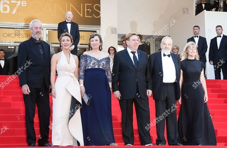 (l-r) British Cinematographer Dick Pope British Actress Dorothy Atkinson British Actress Marion Bailey British Actor Timothy Spall British Director Mike Leigh and Producer Georgina Lowe Arrive As President of the Festival Gilles Jacob (back) Looks on For the Screening of 'Mr Turner' During the 67th Annual Cannes Film Festival in Cannes France 15 May 2014 the Movie is Presented in the Official Competition of the Festival Which Runs From 14 to 25 May France Cannes