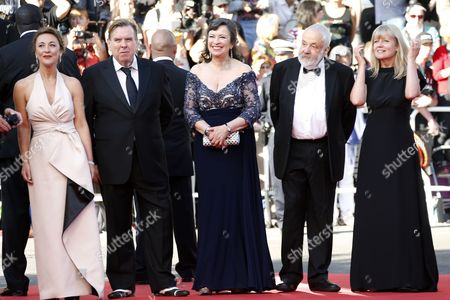 (l-r) British Actress Dorothy Atkinson British Actor Timothy Spall British Actress Marion Bailey British Director Mike Leigh and Producer Georgina Lowe Arrive For the Screening of 'Mr Turner' During the 67th Annual Cannes Film Festival in Cannes France 15 May 2014 the Movie is Presented in the Official Competition of the Festival Which Runs From 14 to 25 May France Cannes