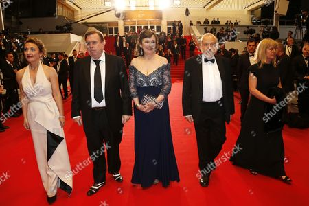 (l-r) British Actress Dorothy Atkinson British Actor Timothy Spall British Actress Marion Bailey British Director Mike Leigh and Producer Georgina Lowe Leave the Festival Palace After Attending the Screening of 'Mr Turner' During the 67th Annual Cannes Film Festival in Cannes France 15 May 2014 the Movie was Presented in the Official Competition of the Festival Which Runs From 14 to 25 May France Cannes