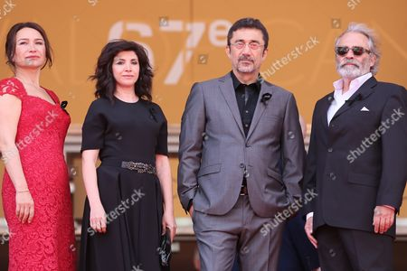 (l-r) Turkish Actress Demet Akbag Turklish Writer Ebru Ceylan Turkish Director Nuri Bilge Ceylan and Turkish Actor Haluk Bilginer Arrive For the Screening of 'Winter Sleep' During the 67th Annual Cannes Film Festival in Cannes France 16 May 2014 They Wear a Black Ribbon in Support of the Victims of the Mine Disaster in Soma Turkey the Movie is Presented in the Official Competition of the Festival Which Runs From 14 to 25 May France Cannes