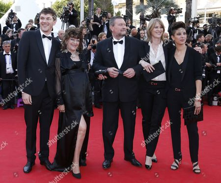 (l-r) French Co-director Samuel Theis French Actress Angelique Litzenburger French Actor Joseph Bour French Co-directors Claire Burger and Marie Amachoukeli Arrive As President of the Festival Gilles Jacob (back) Looks on For the Screening of 'Mr Turner' During the 67th Annual Cannes Film Festival in Cannes France 15 May 2014 the Movie is Presented in the Official Competition of the Festival Which Runs From 14 to 25 May France Cannes