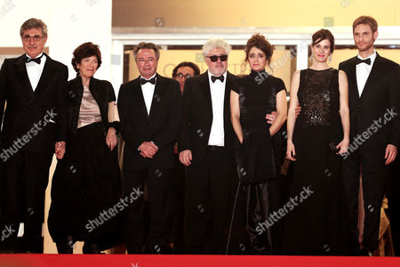 (l-r) Argentine Producer Hugo Sigman and Guest Actor Oscar Martinez Spanish Producer Pedro Almodovar Argentine Actress Erica Rivas Argentine Actress Maria Marull and Argentine Director Damian Szifron Leave the Festival Palace After the Screening of 'Relatos Salvajes' (wild Tales) During the 67th Annual Cannes Film Festival in Cannes France 17 May 2014 the Movie is Presented in the Official Competition of the Festival Which Runs From 14 to 25 May France Cannes