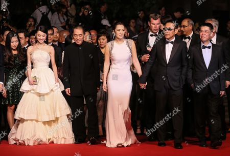 (l-r) Chinese Actress Zhang Huiwen Chinese Director Zhang Yimou Chinese Actress Gong Li Chinese Actor Chen Daoming and Chinese Producer Zhang Zhao Arrive For the Screening of 'Gu Lai' (coming Home) During the 67th Annual Cannes Film Festival in Cannes France 20 May 2014 the Movie is Presented out of Competition at the Festival Which Runs From 14 to 25 May France Cannes