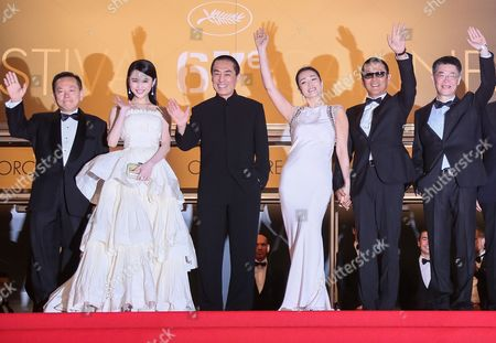 (l-r) Chinese Actress Zhang Huiwen Chinese Director Zhang Yimou Chinese Actress Gong Li Chinese Actor Chen Daoming and Guests Arrive For the Screening of 'Gu Lai' (coming Home) During the 67th Annual Cannes Film Festival in Cannes France 20 May 2014 the Movie is Presented out of Competition at the Festival Which Runs From 14 to 25 May France Cannes