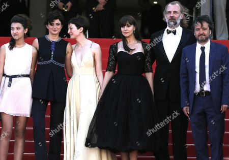 Stock Picture of (l-r) Actress Maria Alexandra Lungu Italian Director Alice Rohrwacher Italian Actress Alba Rohrwacher Italian Actress Monica Bellucci Belgian Actor Sam Louwyck and Producer Carlo Cresto-dina Arrive For the Screening of 'Le Meraviglie' (the Wonders) During the 67th Annual Cannes Film Festival in Cannes France 18 May 2014 the Movie is Presented in the Official Competition of the Festival Which Runs From 14 to 25 May France Cannes