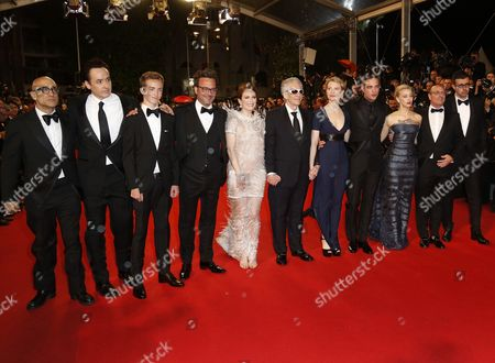 (l-r) Us Actor John Cusack Canadian Actor Evan Bird Us Actress Julianne Moore Canadian Director David Cronenberg Australian Actress Mia Wasikowska British Actor Robert Pattinson Canadian Actress Sarah Gadon and Guests Arrive For the Screening of 'Maps to the Stars' During the 67th Annual Cannes Film Festival in Cannes France 19 May 2014 the Movie is Presented in the Official Competition of the Festival Which Runs From 14 to 25 May France Cannes