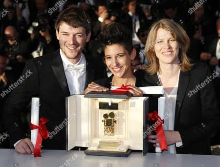 French Co-directors (l-r) Samuel Theis Claire Burger and Marie Amachoukeli Pose During the Award Winners Photocall After They Won the Golden Camera Award For Their Movie 'Party Girl' at the 67th Annual Cannes Film Festival in Cannes France 24 May 2014 France Cannes