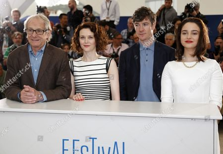 (l-r) British Director Ken Loach Irish Actress Simone Kirby Irish Actor Barry Ward and Irish Actress Aisling Franciosi Pose During the Photocall For 'Jimmy's Hall' at the 67th Annual Cannes Film Festival in Cannes France 22 May 2014 the Movie is Presented in the Official Competition of the Festival Which Runs From 14 to 25 May France Cannes