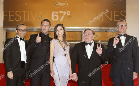 (l-r) Russian Director Andrey Zvyagintsev Russian Actor Vladimir Vdovichenkov Russian Actress Elena Lyadova Russian Actor Roman Madianov and Russian Actor Aleksei Serebryakov Arrive For the Screening of 'Leviathan' During the 67th Annual Cannes Film Festival in Cannes France 23 May 2014 the Movie is Presented in the Official Competition of the Festival Which Runs From 14 to 25 May France Cannes