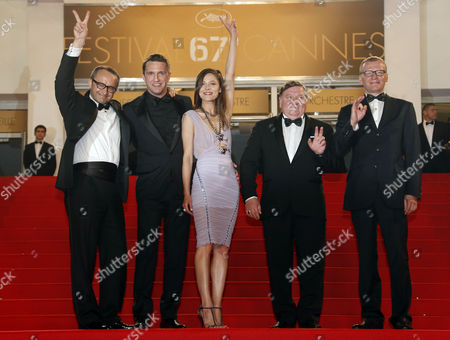 Stock Image of (l-r) Russian Director Andrey Zvyagintsev Russian Actor Vladimir Vdovichenkov Russian Actress Elena Lyadova Russian Actor Roman Madianov and Russian Actor Aleksei Serebryakov Arrive For the Screening of 'Leviathan' During the 67th Annual Cannes Film Festival in Cannes France 23 May 2014 the Movie is Presented in the Official Competition of the Festival Which Runs From 14 to 25 May France Cannes