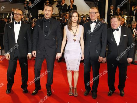 (l-r) Russian Director Andrey Zvyagintsev Russian Actor Vladimir Vdovichenkov Russian Actress Elena Lyadova Russian Actor Aleksei Serebryakov and Russian Actor Roman Madianov Arrive For the Screening of 'Leviathan' During the 67th Annual Cannes Film Festival in Cannes France 23 May 2014 the Movie is Presented in the Official Competition of the Festival Which Runs From 14 to 25 May France Cannes