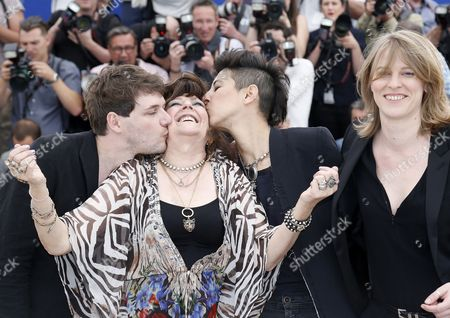 French Actress Angelique Litzenburger (2-l) is Cheered by French Co-directors Samuel Theis (l) Marie Amachoukeli (2-r) and Claire Burger (r) Pose During the Photocall For 'Party Girl' at the 67th Annual Cannes Film Festival in Cannes France 15 May 2014 the Movie is Presented in the Section Un Certain Regard of the Festival Which Runs From 14 to 25 May France Cannes