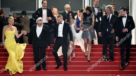 (l-r) South-african Actress Charlize Theron Australian Director George Miller Us Actor Tom Hardy Us Actress Zoe Kravitz Australian Actress Courtney Eaton Us Producer Doug Mitchell and British Actor Nicholas Hoult Leave the Screening of 'Mad Max: Fury Road' During the 68th Annual Cannes Film Festival in Cannes France 14 May 2015 the Movie was Presented out of Competition at the Festival Which Runs From 13 to 24 May France Cannes