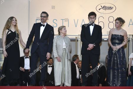 Stock Image of (l-r) Italian Actress Beatrice Mancini Us Actor John Turturro Italian Actress Giulia Lazzarini Italian Director Nanni Moretti and Italian Actress Margherita Buy Leave the Screening of 'Mia Madre' (my Mother) During the 68th Annual Cannes Film Festival in Cannes France 16 May 2015 the Movie was Presented in the Official Competition of the Festival Which Runs From 13 to 24 May France Cannes