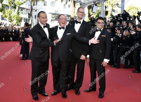 (l-r) Us Producer Jonas Riviera Disney Pixar Ceo John Lasseter Us Director Pete Docter and Philippino Co-director Ronnie Del Carmen Arrive For the Screening of 'Inside Out' During the 68th Annual Cannes Film Festival in Cannes France 18 May 2015 the Movie is Presented out of Competition at the Festival Which Runs From 13 to 24 May France Cannes