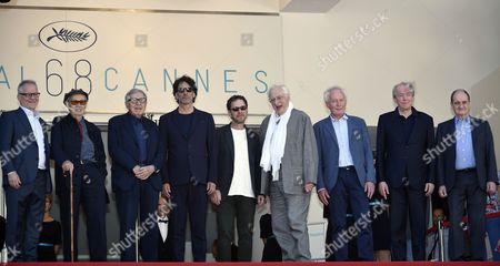 (l-r) General Delegate of the Festival Thierry Fremaux Italian Director Vittorio Taviani Italian Director Paolo Taviani Us Director Joel Coen Us Director Ethan Coen French Director Bertrand Tavernier Belgian Director Jean-pierre Dardenne Belgian Director Luc Dardenne and Festival President Pierre Lescure Arrive For the Screening of 'Lumiere' to Celebrate the 120 Years of the Birth of the Cinematographe Lumiere During the 68th Annual Cannes Film Festival in Cannes France 17 May 2015 the Film is Presented in the Section Cannes Classics at the Festival Which Runs From 13 to 24 May France Cannes
