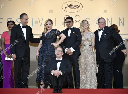 (l-r) Us Actress Mindy Kaling Us Producer Jonas Riviera French Actress Marilou Berry Us Director Pete Docter Philippino Co-director Ronnie Del Carmen French Actress Melanie Laurent and Disney Pixar Ceo John Lasseter Arrive For the Screening of 'Inside Out' During the 68th Annual Cannes Film Festival in Cannes France 18 May 2015 the Movie is Presented out of Competition at the Festival Which Runs From 13 to 24 May France Cannes