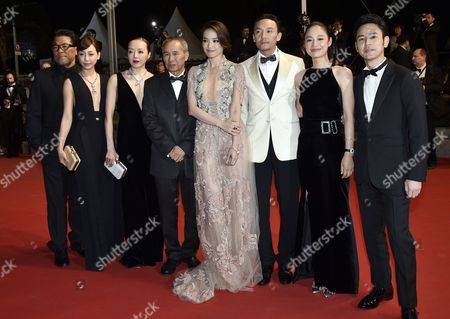 (l-r) Taiwanese Actress Hsieh Hsin-ying Taiwanese Actress Sheu Fang-yi Taiwanese Director Hou Hsiao-hsien Taiwanese Actress Shu Qi Taiwanese Actor Chang Chen Chinese Actress Zhou Yun Japanese Actor Tsumabuki Satoshi and Guest Arrive For the Screening of 'Nie Yinniang' (the Assassin) During the 68th Annual Cannes Film Festival in Cannes France 21 May 2015 the Movie is Presented in the Official Competition of the Festival Which Runs From 13 to 24 May France Cannes