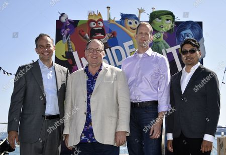 (l-r) Us Producer Jonas Riviera Disney Pixar Ceo John Lasseter Us Director Pete Docter and Philippino Co-director Ronnie Del Carmen Pose During a Photocall For 'Inside Out' at the Carlton Pier As Part of the 68th Annual Cannes Film Festival in Cannes France 18 May 2015 the Movie is Presented out of Competition at the Festival Which Runs From 13 to 24 May France Cannes