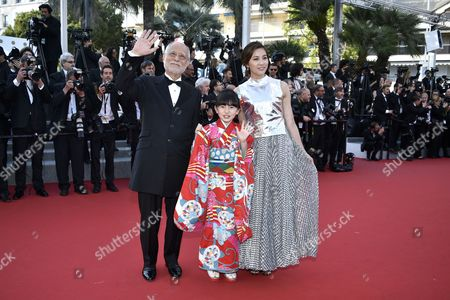 (l-r) Japanese Actor Masahiko Tsugawa Japanese Actress Rio Suzuki and Japanese Actress Asaka Seto Arrives For the Screening of 'The Little Prince' During the 68th Annual Cannes Film Festival in Cannes France 22 May 2015 the Movie is Presented out of Competition at the Festival Which Runs From 13 to 24 May France Cannes