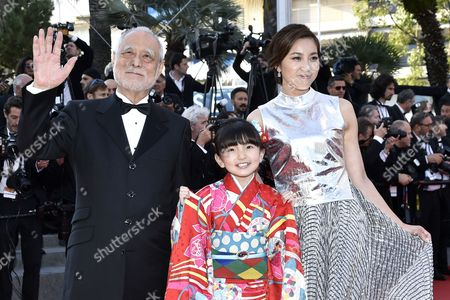 Stock Image of (l-r) Japanese Actor Masahiko Tsugawa Japanese Actress Rio Suzuki and Japanese Actress Asaka Seto Arrives For the Screening of 'The Little Prince' During the 68th Annual Cannes Film Festival in Cannes France 22 May 2015 the Movie is Presented out of Competition at the Festival Which Runs From 13 to 24 May France Cannes