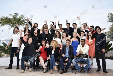(front L-r) Directors Frederic Mermoud Marion Laine Stephanie Murat Clement Michel and Lyes Salem Pose with Adami Talents Actors Pierre Boulanger Alix Blumberg Dit Fleurmont Garlan Le Martelot Francois-xavier Phan Barbara Bolotner Felix Kysyl Philippe Ferhat Lou Gala Lou Granarolo Paul Granioer Helene Kuhn Juliette Prier Astrid Roos Damien Zanoly Clemence Labatut Salim Fontaine Marilou Malo Roby Schinasi Audrey Bastien and Amir El Kacem During the Adami Photocall at the 68th Annual Cannes Film Festival in Cannes France 19 May 2015 the Festival Runs From 13 to 24 May France Cannes