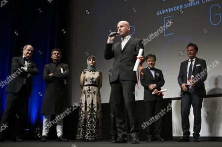 Icelandic Director Grimur Hakonarson (c) Delivers a Speech After Receiving the Prize of Un Certain Regard For His Film 'Hrutar' (rams) During the Un Certain Regard Award Ceremony of the 68th Cannes Film Festival in Cannes France 23 May 2015 the Festival Runs From 13 to 24 May France Cannes