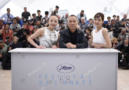 Stock Photo of (l-r) Taiwanese Actress Sheu Fang-yi Taiwanese Director Hou Hsiao-hsien and Taiwanese Actress Hsieh Hsin-ying Pose During the Photocall For 'Nie Yinniang' (the Assassin) at the 68th Annual Cannes Film Festival in Cannes France 21 May 2015 the Movie is Presented in the Official Competition of the Festival Which Runs From 13 to 24 May France Cannes