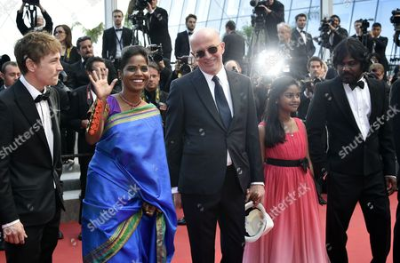 (l-r) French Actor Vincent Rottiers Sri Lankan Actress Kalieaswari Srinivasan French Director Jacques Audiard Sri Lankan Actress Claudine Vinasithamby and Sri Lankan Actor Jesuthasan Antonythasan Arrive For the Screening of 'Dheepan' During the 68th Annual Cannes Film Festival in Cannes France 21 May 2015 the Movie is Presented in the Official Competition of the Festival Which Runs From 13 to 24 May France Cannes
