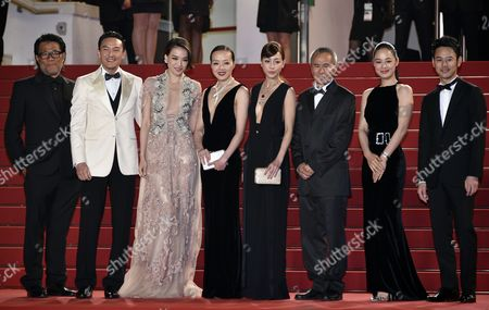 (l-r) Taiwanese Actor Chang Chen Taiwanese Actress Shu Qi Taiwanese Actress Sheu Fang-yi Taiwanese Actress Hsieh Hsin-ying Taiwanese Director Hou Hsiao-hsien Chinese Actress Zhou Yun Japanese Actor Tsumabuki Satoshi and Guest Arrive For the Screening of 'Nie Yinniang' (the Assassin) During the 68th Annual Cannes Film Festival in Cannes France 21 May 2015 the Movie is Presented in the Official Competition of the Festival Which Runs From 13 to 24 May France Cannes