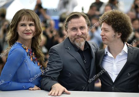 (l-r) Mexican Actress Nailea Norvind British Actor Tim Roth and Mexican Director Michel Franco Pose During the Photocall For 'Chronic' at the 68th Annual Cannes Film Festival in Cannes France 22 May 2015 the Movie is Presented in the Official Competition of the Festival Which Runs From 13 to 24 May France Cannes
